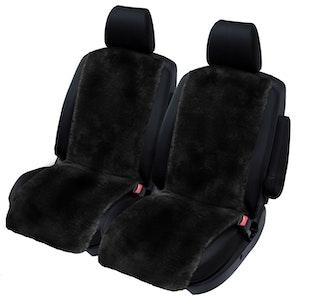 Sheepskin Seat Covers 20Mm (Pair) Airbag Safe | Black