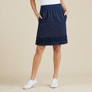 Gordon Smith Ruffle Hem Linen Skirt - navy