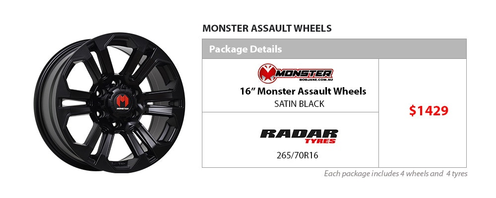 Wheel & Tyre Package - Monster & Radar | Bob Jane T-Marts
