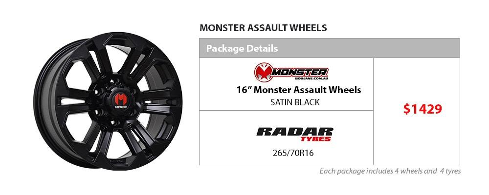 Monster & Radar Wheel & Tyre Package $1429