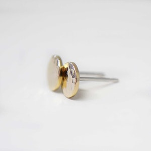 14K GOLD AND STERLING SILVER TEXTURED STUD EARRINGS