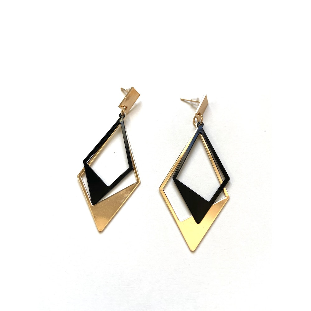 One of a Kind Club Black And Gold Strong Diamond Shaped Earrings