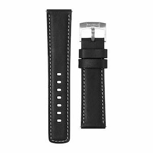 Bausele Oceanmoon IV Strap - Black Leather - 22mm