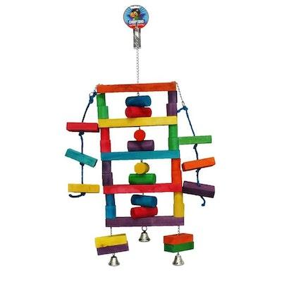 Cheeky Bird Square Block Ladder Coloured Wooden Bird Toy Jumbo