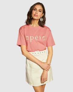 APERO Embroidered Tee - Dusty Pink / Cream