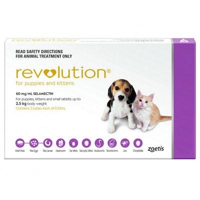 Revolution 0-2.5kg Puppy Kitten Parasite Worm Treatment Pink - 2 Sizes