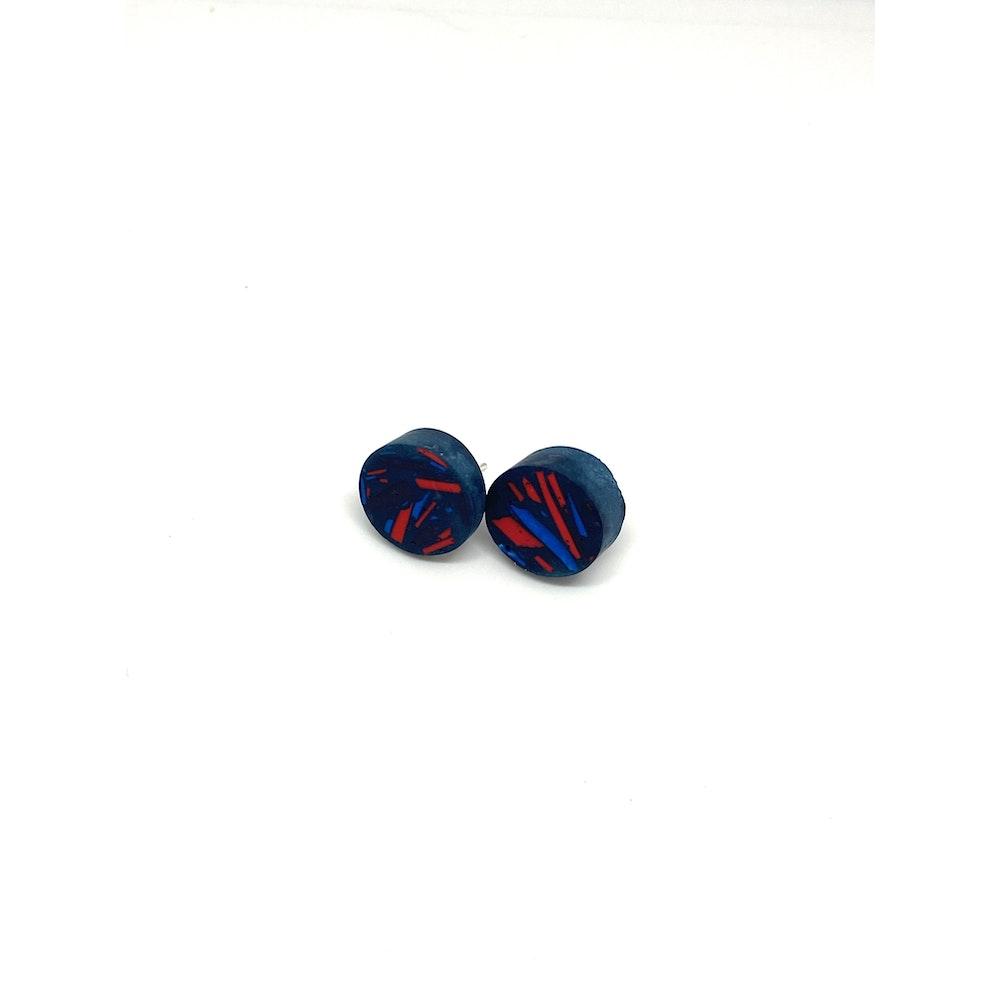 One of a Kind Club Blue Vivid Jesomite Circle Earring Studs