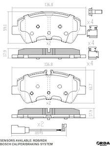 RDA EXTREME H/D REAR BRAKE PADS for Ford Transit Custom VN 2013 onwards RDX2345