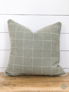 Cushion Cover - Mint Check with Chalk Linen Piping