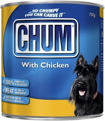 Chum With Chicken Flavour Adult Dog Food 700g x 12