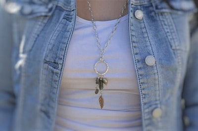 Uniqu-Lea Yours Boho Style Hill Tribe Silver and Labradorite Long Necklace
