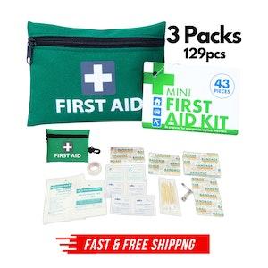 3x Mini First Aid Kit 129pcs Emergency Medical Travel Pocket Set Family Home Car Treatment