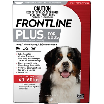 Frontline Plus Extra Large Dog 40-60kg Red Topical Tick & Flea Control - 2 Sizes