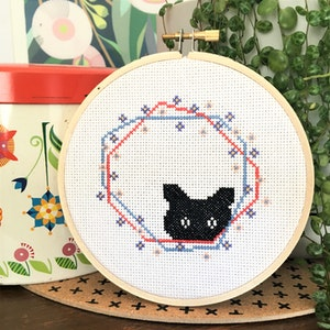 Black Cat Peeking cross stitch kit