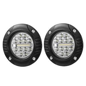 LIGHTFOX LIGHTFOX 2x 5inch Cree Flush Mount LED Work Light Bar Combo Reverse Round Fog Lamp 4WD