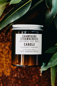 Amber Soy Candle - Champagne Strawberry