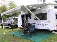 First caravan after the bushfires GoSee Jayco Discovery on Glen Cromie powered site  in Gippsland Victoria