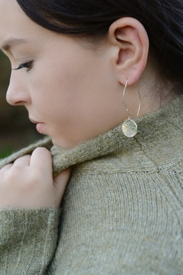Sarah Munnings Jewellery Silver Hammered Disc Earrings