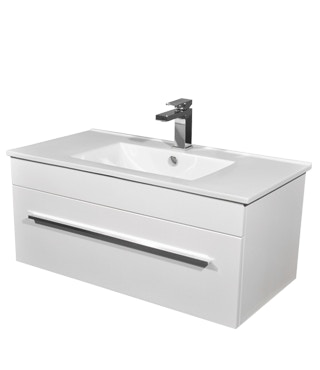 Oscar wall mount vanity 600mm pre built bathroom for Premade bathroom vanities