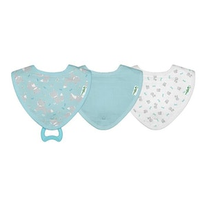 green sprouts Muslin Stay-dry Teether Bibs made from Organic Cotton (3pk)-Aqua Fox-0/12mo