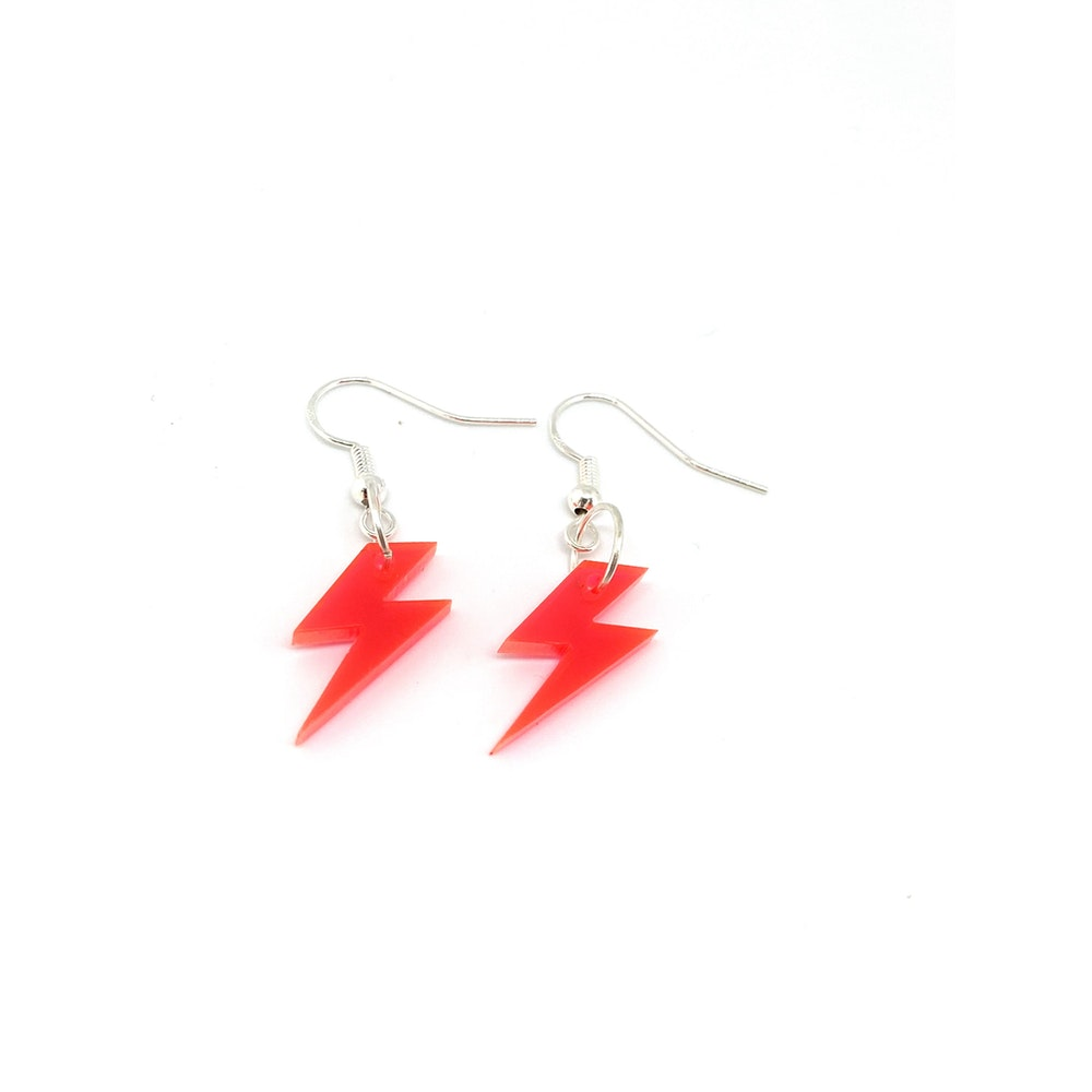 One of a Kind Club Neon Pink Bolt Earrings