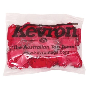 Kevron ID5 Easy Opening Plastic Key Tags – 50 Pack – Red