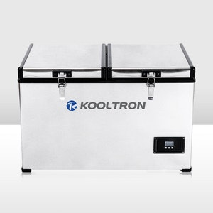 Kooltron 100L Stainless Steel Dual Compartment Fridge / Freezer Camping 12v24v 240v