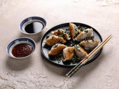 Pan fried Pork and Chive Dumplings 8pc
