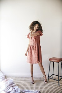 Gypsophila Dress with Sleeves - Red Clay