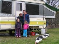 The McMahons with their Jayco Swan, Swan Hill Riverside Top Tourist member park