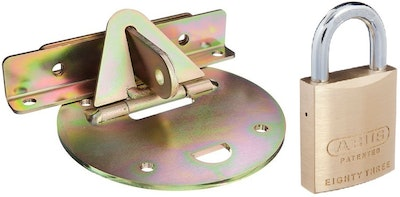 "Xtratec XTRA-LOK 1A roller door anchor full circular plate for ""Flat Concrete Surfaces"", Abus 83/45 padlock included"