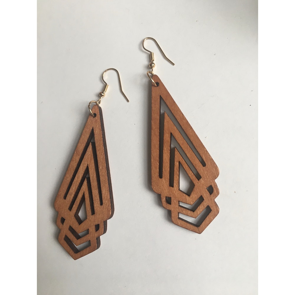 One of a Kind Club Wooden Art Deco Inspired Earrings