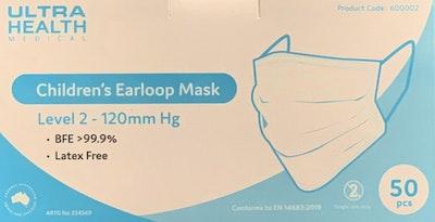 Ultra Health - Kid/Children Size - Level 2 - Mask (50 Pack)