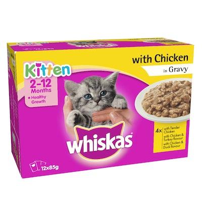 Whiskas Kitten Wet Cat Food Chicken in Gravy Variety Pack 12 x 85g