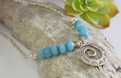 Uniqu-Lea Yours Blue Jade and Hill Tribe Silver Necklace