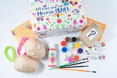 Liliz Lu Studio Kit paint your own Skull. Figure made of paper mache and cardboard. ideal gift for adults and children. Activity for any occasion