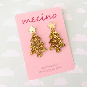 Oh Christmas Tree - Sparkly Gold Christmas Acrylic Earrings