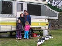 The McMahons with their Jayco Swan