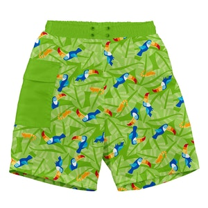 i play. Tropical Pocket Trunks w/Built-in Reusable Absorbent Swim Diaper-Lime Toucan