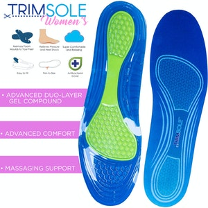 TRIMSOLE Women's Gel Advanced Insoles Silicone Antibacterial Inserts Pads