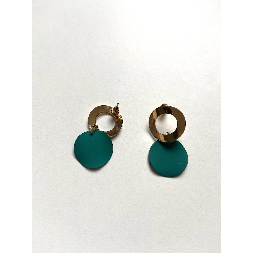 One of a Kind Club Green Strong Ring Earrings