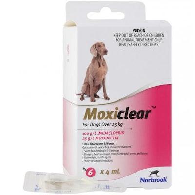 MOXICLEAR Flea & Worming Spot Treatment >25kg Dog 6 Pack