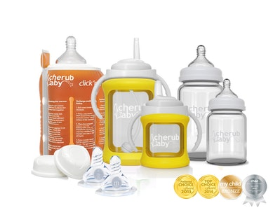 Glass Baby Bottles Starter Kit Bundle & Warmer - Yellow