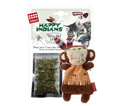 GIGWI Happy Indians Monkey with Catnip Interactive Cat Toy