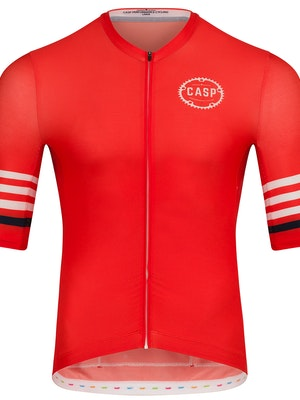 Casp Performance Cycling Mix n Stripes Jersey Red