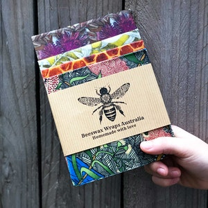 Family Pack Beeswax Wraps (2S, 1M, 1L)