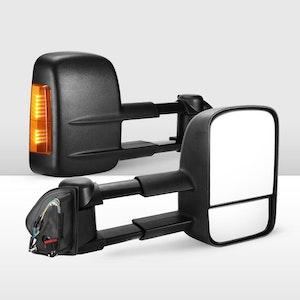 Pair Extendable Towing Mirrors for Land Rover Discovery 4 2009-2016 Black