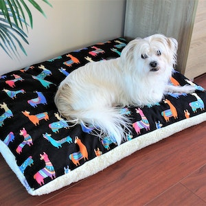 """Queenie's Pawprints Eco Pet Bed """"Perfect Snooze Cushion"""" - Happy Lamas"""