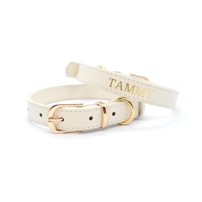 Petzy Beige - Premium Personalised Pet Collar (Gold)