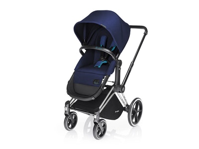 Priam Chrome with Black Pram + 2-in-1 Light Seat. Royal Blue